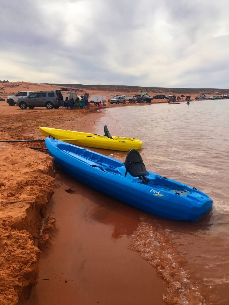 Sand Hollow Reservoir view with 2 kayaks on the shore