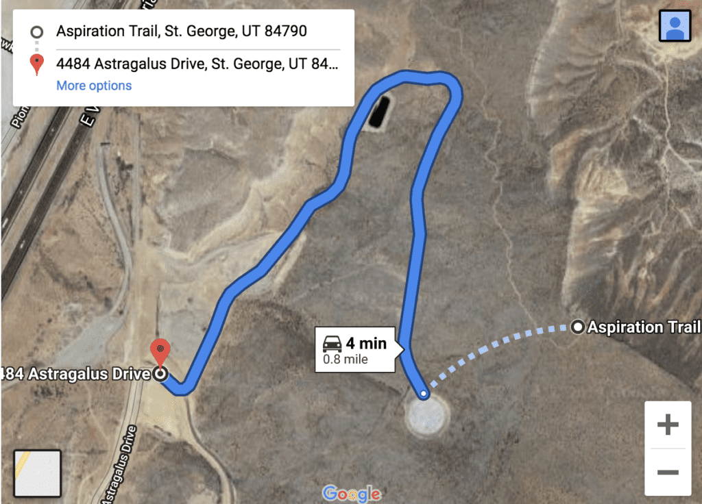 Map of Aspiration Trail, Utah