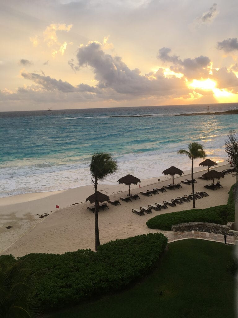 View from hotel room of the ocean in Cancun