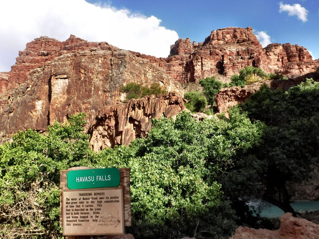 Havasu falls sign against the mountains and blue sky in The Grand Canyon, Arizona