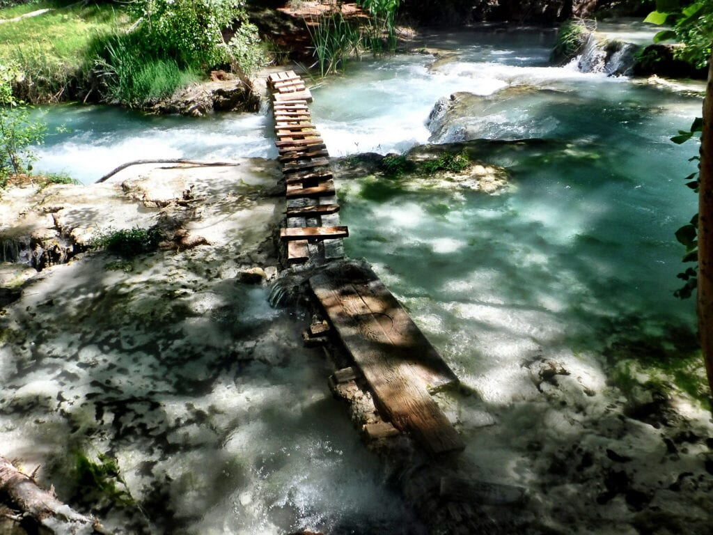 wooden bridge over water Havasupai The Grand Canyon, Arizona