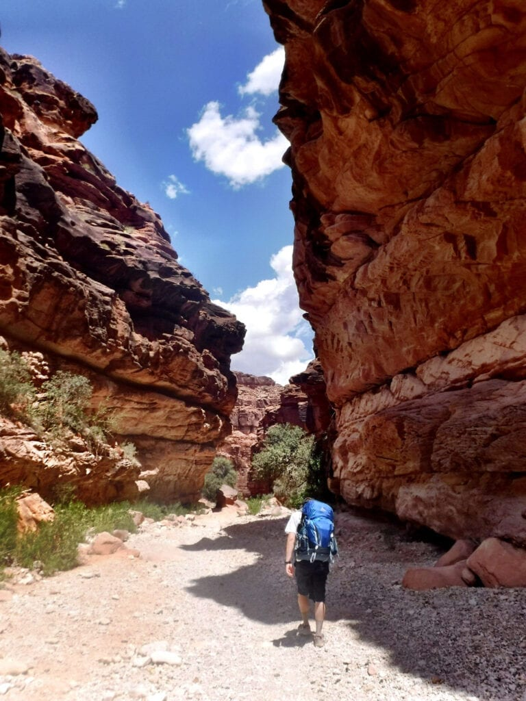 Hiking into The Grand Canyon, man caring backpack against the red mountains