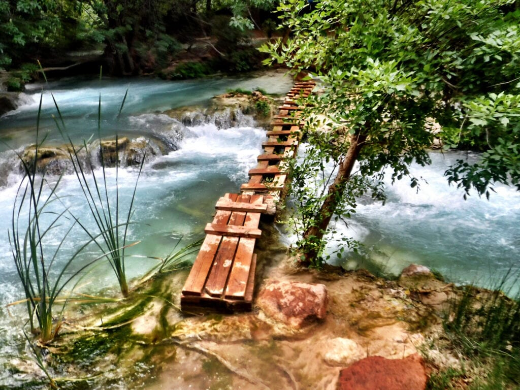 old wooden bridge over water The Grand Canyon, Arizona Havasupai