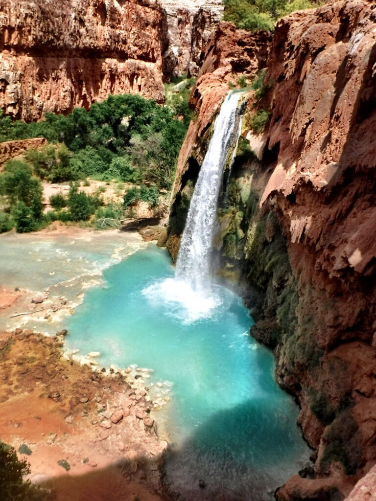 Havasu Falls Waterfall beautiful turquoise water The Grand Canyon, Arizona