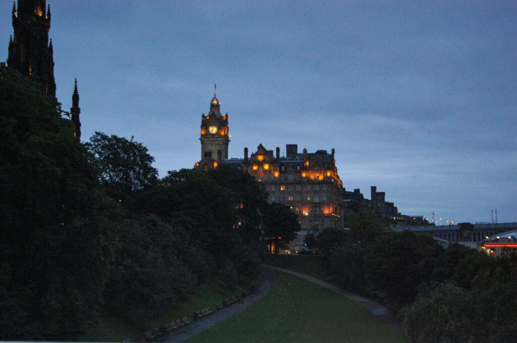 Castle at night against the sky in Ireland