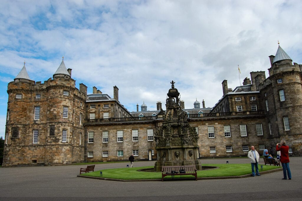 THE PALACE AT HOLYROOD PLACE, Scotland. Against the beautiful sky