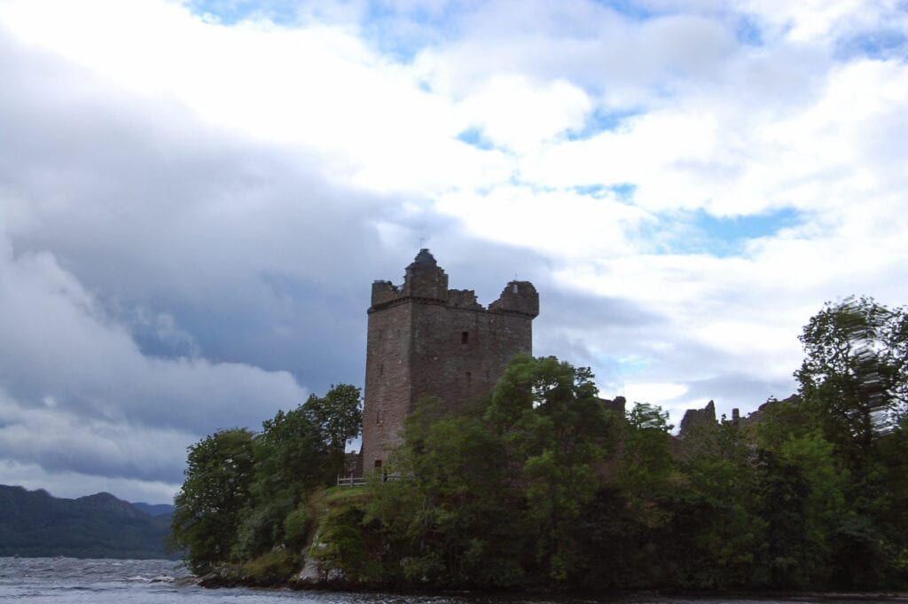 Urquhart Castle, Scotland against the sky