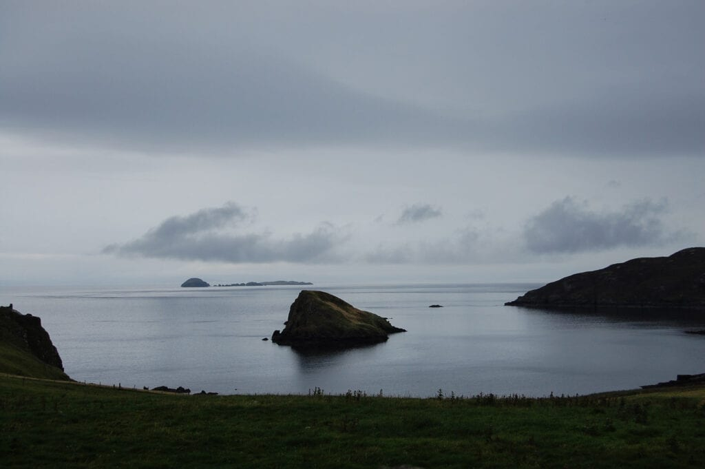 Beautiful landscape in The Highlands, Scotland. Ocean views with rocks