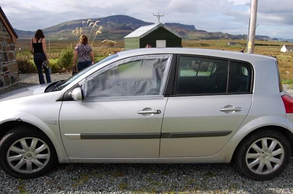 Rental Car with broken window in the Highlands, Scotland