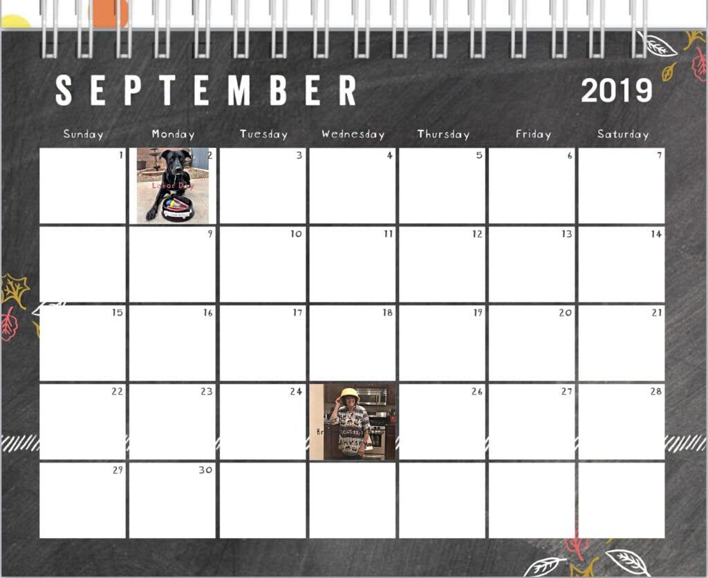 dog calendar September 2019, days of the week month