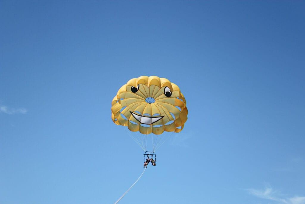 Man and woman parasailing in Catalina Island
