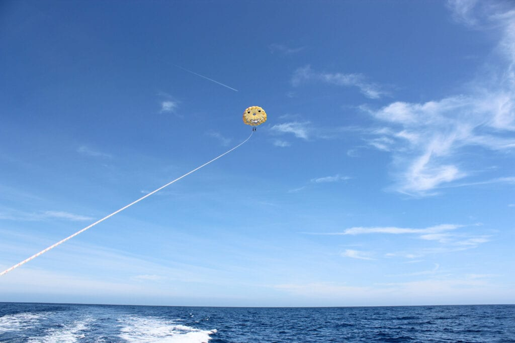 Distant photo of man and woman parasailing in Catalina Island