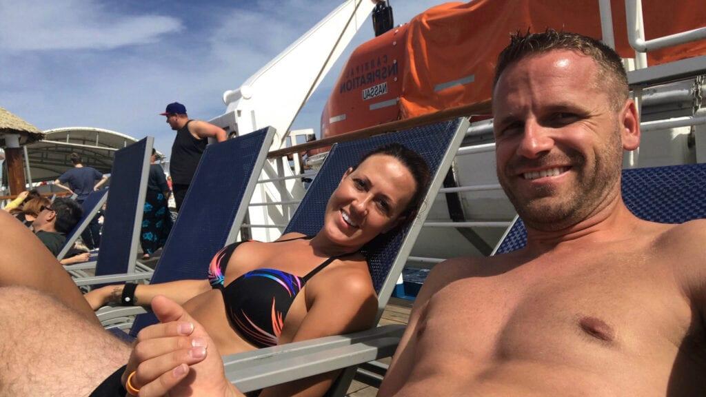 Man and women enjoying cruise vacation
