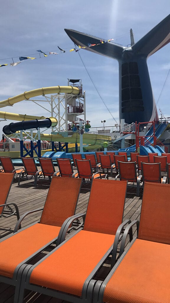 carnival cruise ship view of seats and water slide