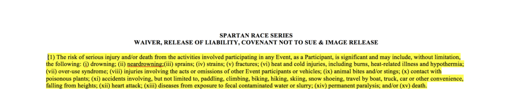 Snippet of waiver you must sign prior to doing Spartan Race