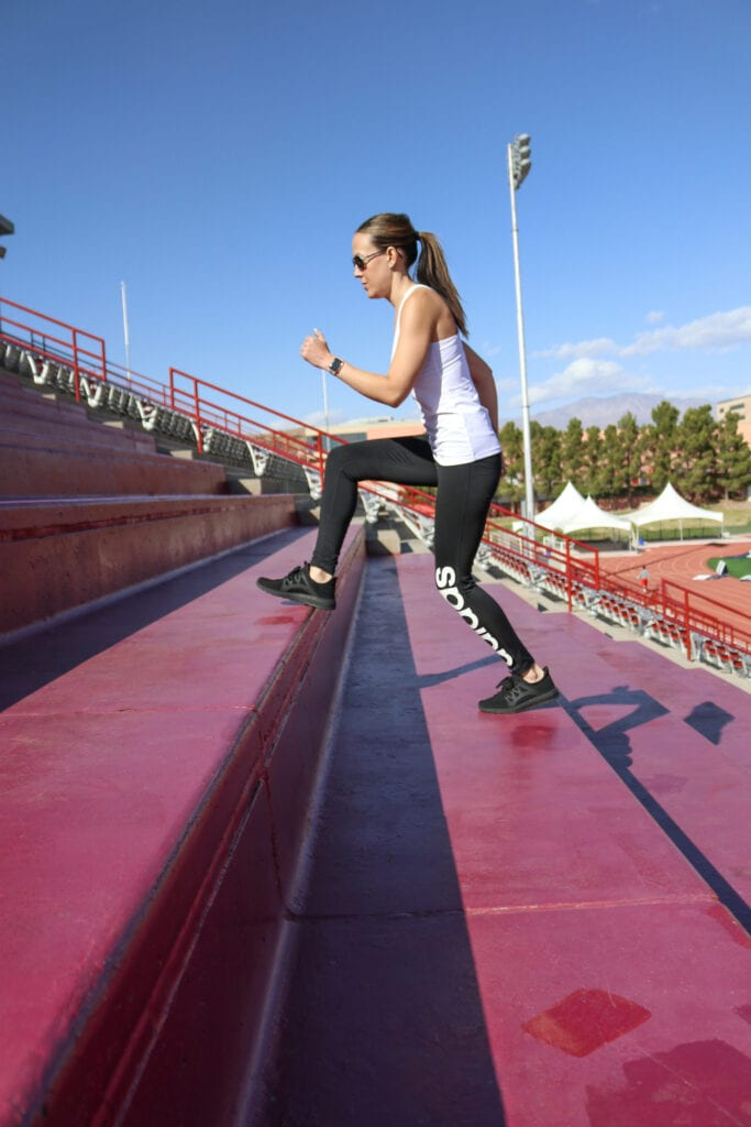 Girl running on stairs