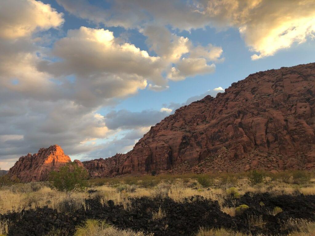 desert landscape against the blue sky
