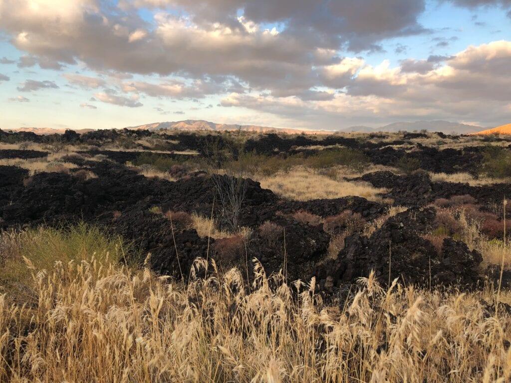 lava beds in the desert against the blue sky