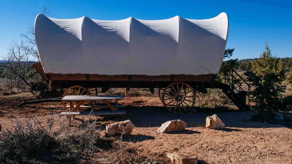 covered wagon glamping