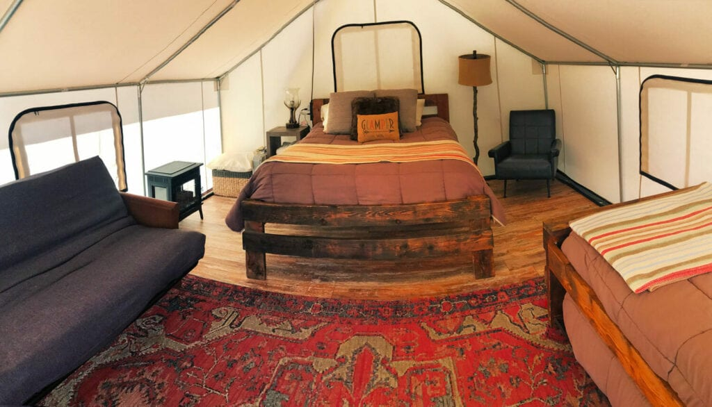 glamping interior tent
