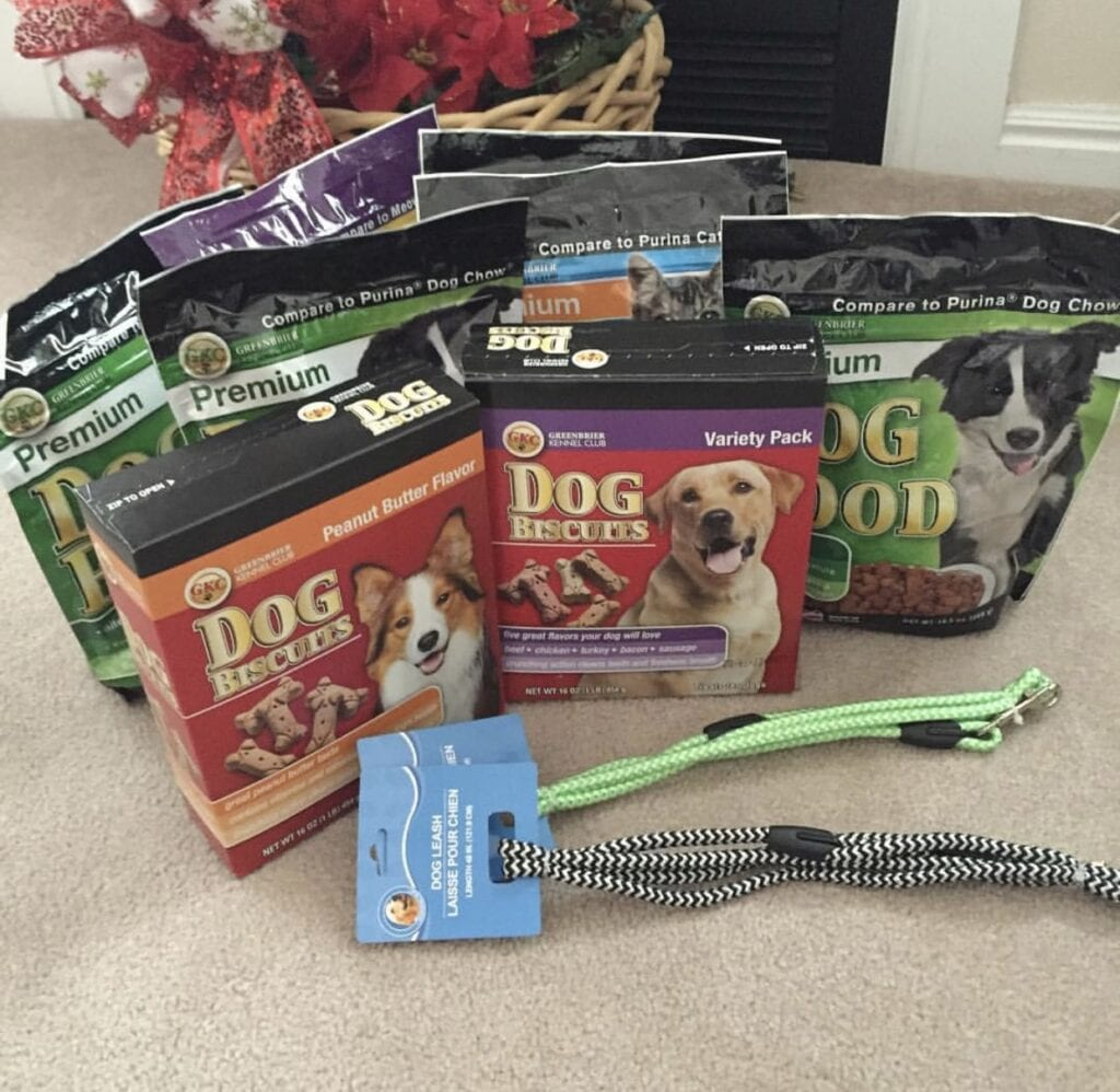 Dog food, dog treats, leashes for donation