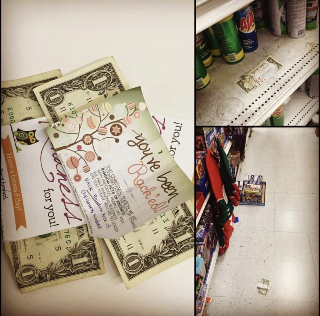 hiking dollar bills at the dollar store