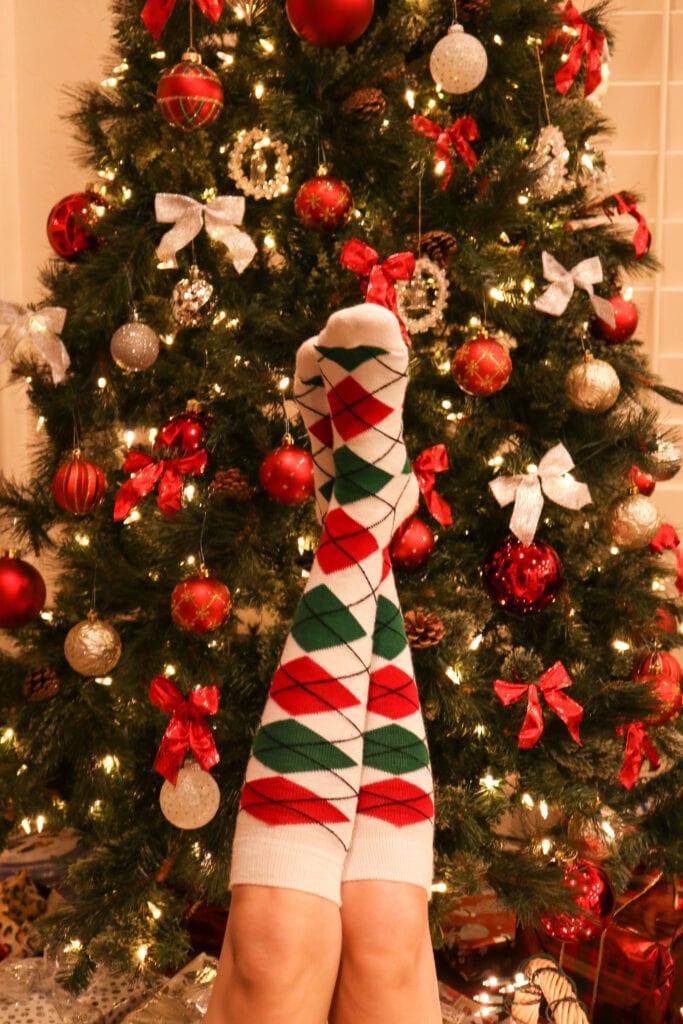 Christmas Socks against tree