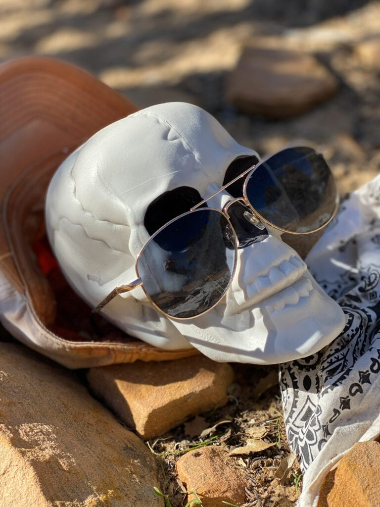 jones bones in sunglasses closeup