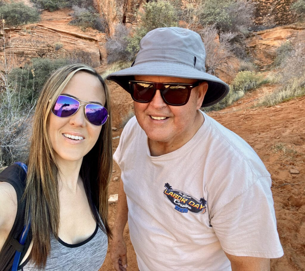 dad and daughter hiking in Southern Utah