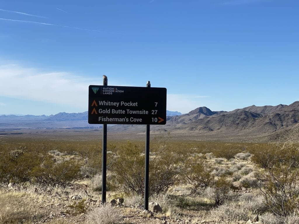 Sign to Gold Butte